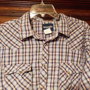 Wrangler Western Plaid Pearl Snap Shirt XXL